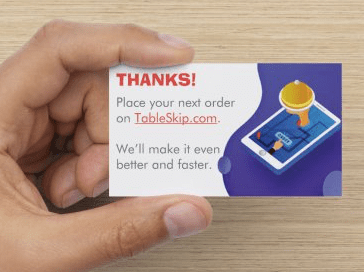 TableSkip add card to orders